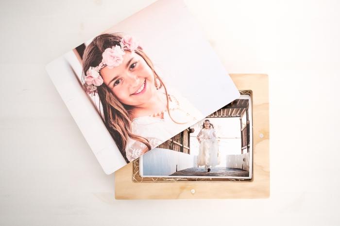 Caja en madera con tapa imantada e impresión en madera